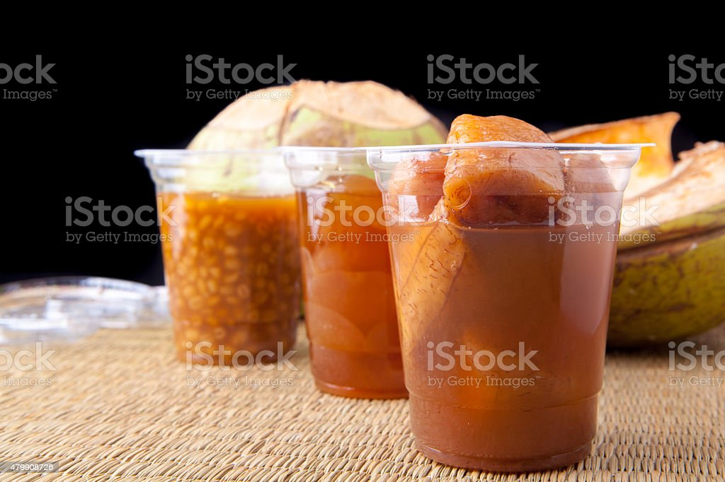 Ramadan Food Banana Kolang Kaling and Hanjeli from side stock photo