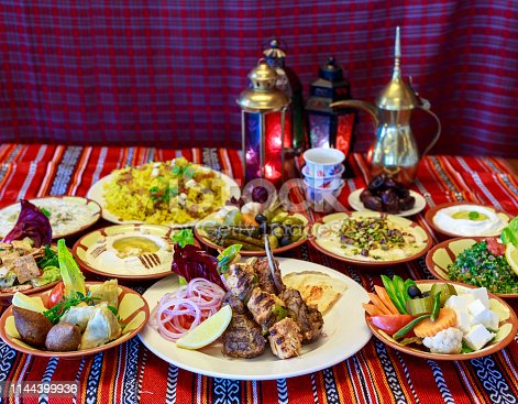 Iftar or Suhoor buffet served during Ramadan in Middle East Country