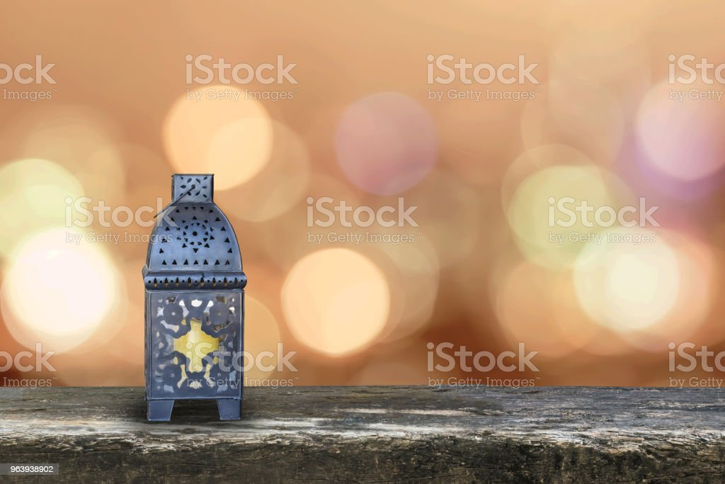 Ramadan Kareem background with Eid lamp or Arabic lantern on gold candle light bokeh for Islamic muslims religious fasting month - Royalty-free Allah Stock Photo