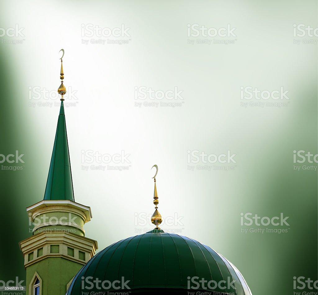 Ramadan Kareem background with mosque stock photo