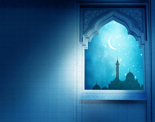 ramadan kareem background.mosque window with shiny crescent moon - eid stock pictures, royalty-free photos & images