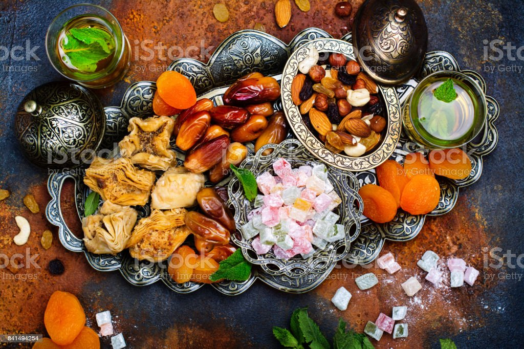Ramadan Kareem holiday table stock photo