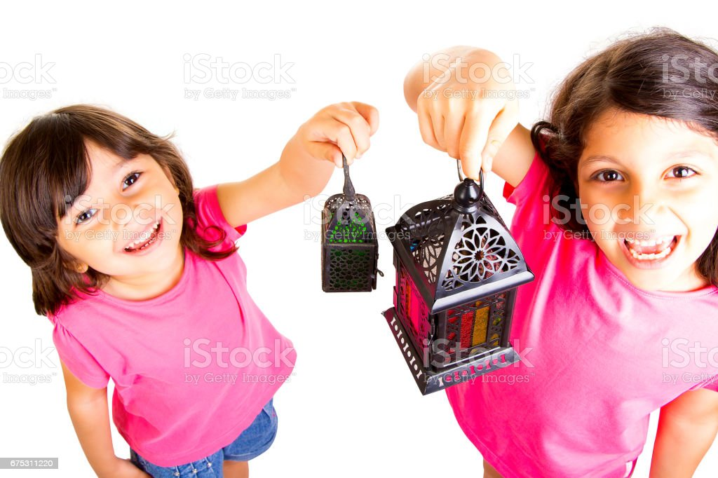 Ramadan Kareem - Kids celebrating Ramadan stock photo