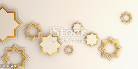 istock Ramadan kareem or eid al fitr adha, Arabic geometric star ornament on white background. Design creative concept of islamic celebration day, copy space text area, 3D rendering illustration. 1216710678