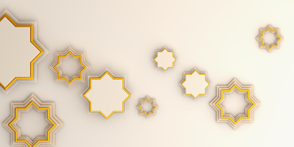 1130047135 istock photo Ramadan kareem or eid al fitr adha, Arabic geometric star ornament on white background. Design creative concept of islamic celebration day, copy space text area, 3D rendering illustration. 1216710678