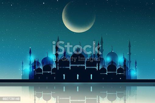 istock Ramadan Kareem season greeting with mosque and shiny star night 692728146