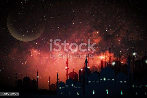 istock Ramadan Kareem season greeting with mosque and shiny star night 692728278
