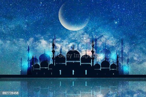 istock Ramadan Kareem season greeting with mosque and shiny star night 692728458