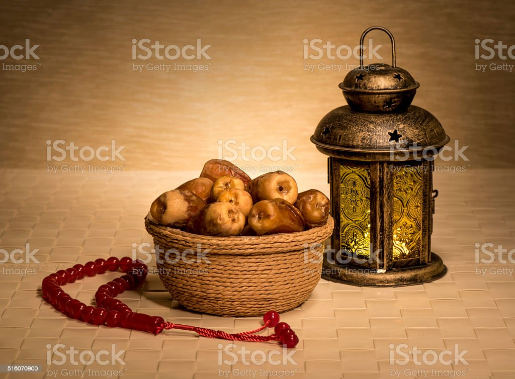 Ramadan lamp with dates stock photo