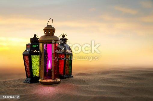 istock Ramadan Lantern on desert Sand dunes 514263228