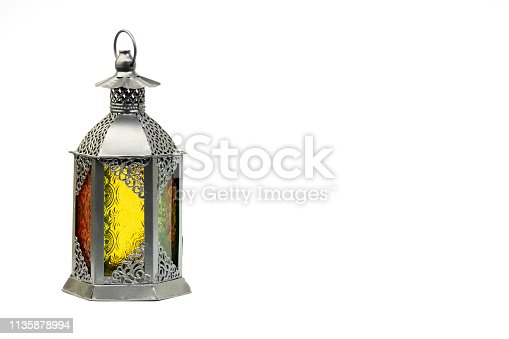 istock Ramadan lantern or Arabic decoration lamp isolated on white backgroun 1135878994