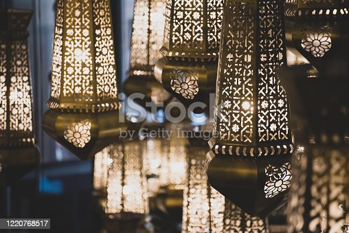Ramadan Lanterns with ornamented Arabic decoration for Islamic festivals and celebrations