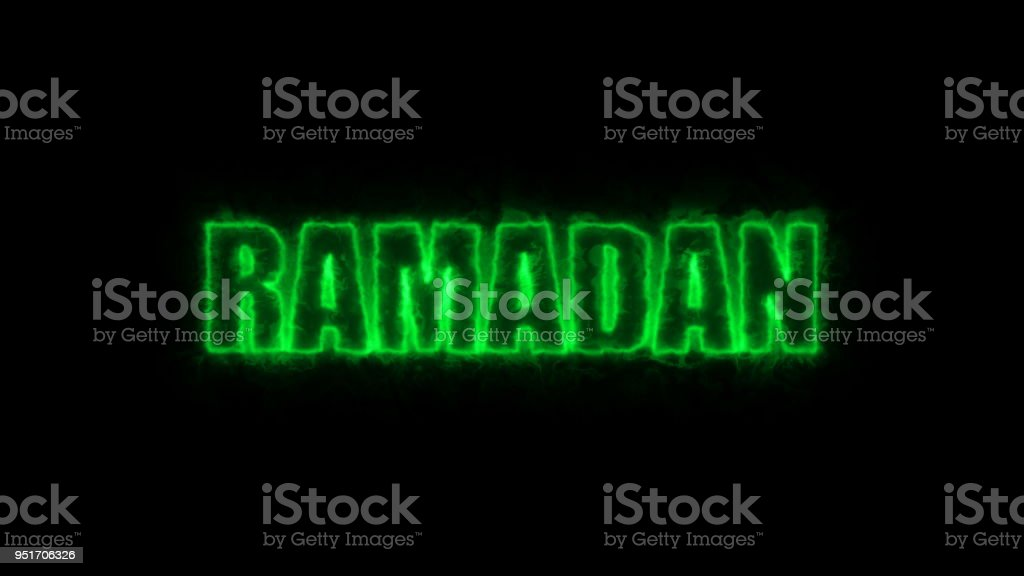 Ramadan text on black, 3d render background, computer generating for holidays festive design stock photo