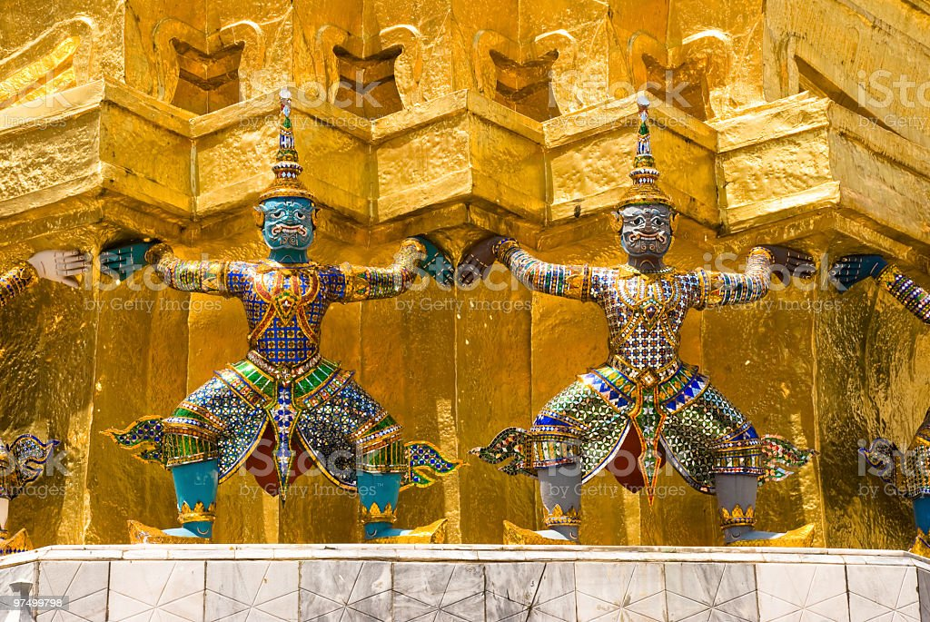 Ramayana figures at Grand Palace royalty-free stock photo