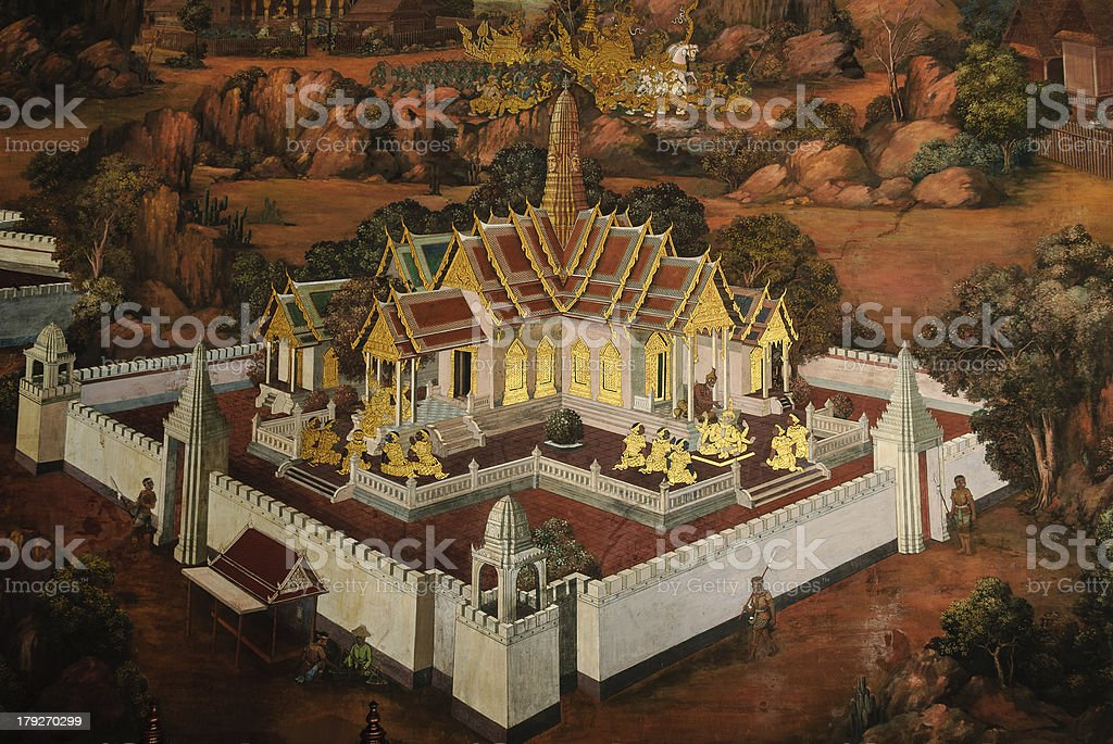 Ramayana painting in temple of emerald Buddha stock photo