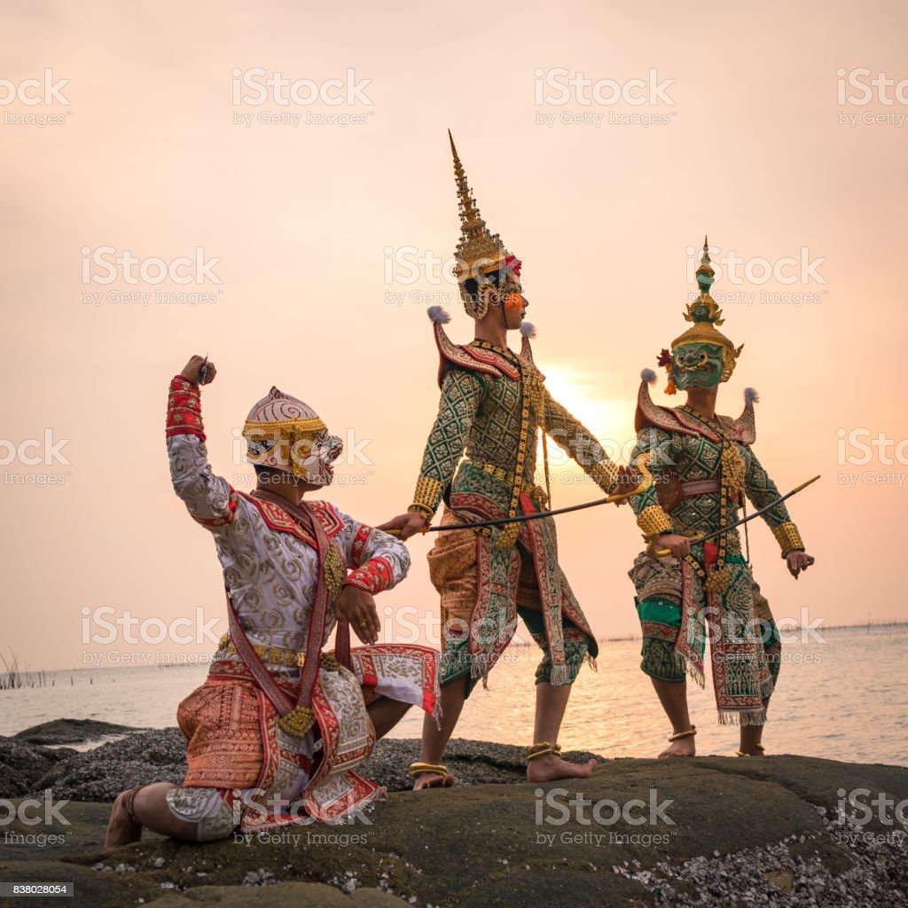 Ramayana thai traditional dance stock photo