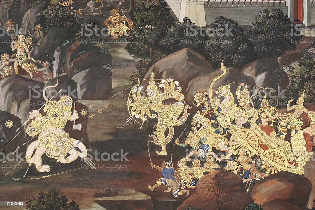 Ramayana Wall Painting at Wat Phra Kaeo Bangkok, Thailand stock photo