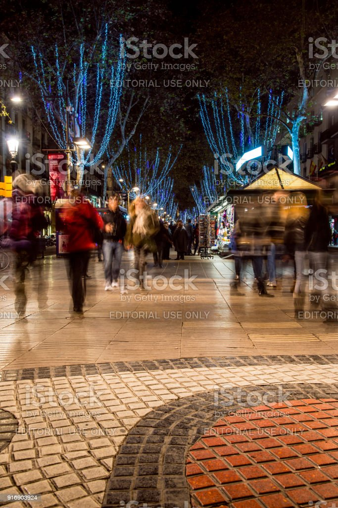 Christmas In Barcelona Spain.Rambla Pedestrian Street Adorned With Christmas Lights