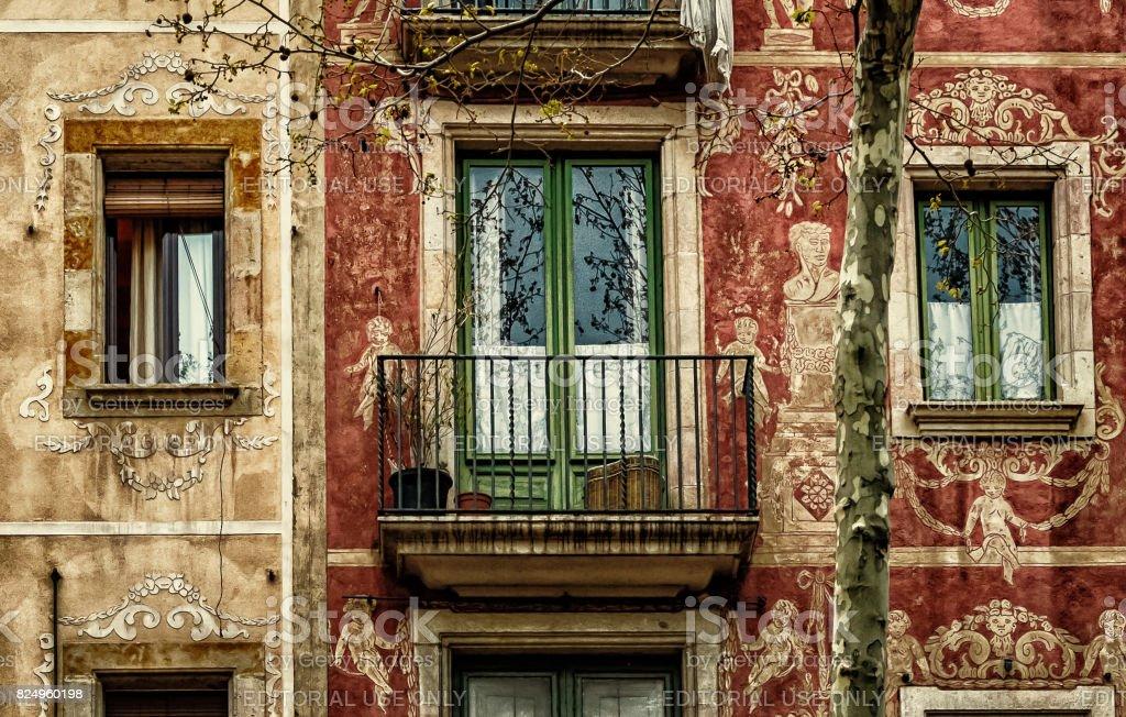 Ramblas Facade in Barcelona stock photo