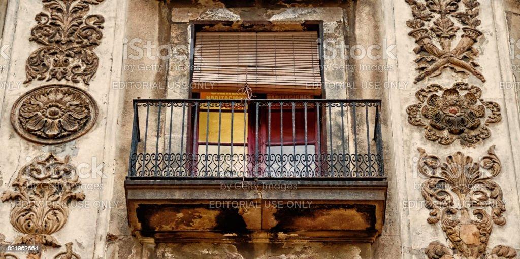 Ramblas Facade in Barcelona - ultra closeup stock photo