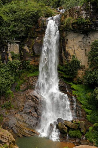 Ramboda waterfall in Sri Lanka. stock photo