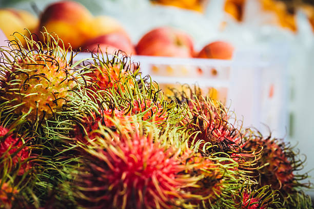 rambutan for sale at the food market in thailand - essensbox stock-fotos und bilder