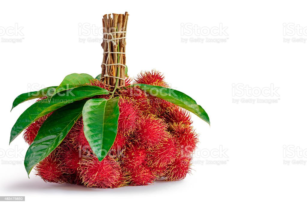 Rambutans sweet delicious fruit with leaf isolated stock photo