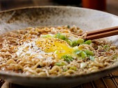 Ramen Soup with Fried Egg, Green Onions and Sesame Seeds