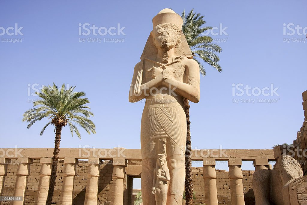 Rameses II at the Temple of Karnak in Luxor, Egypt stock photo