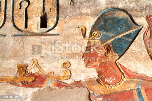 istock Ramesses III Painted Relief, Medinet Habu, Theban Necropolis, Luxor, Egypt 185101059