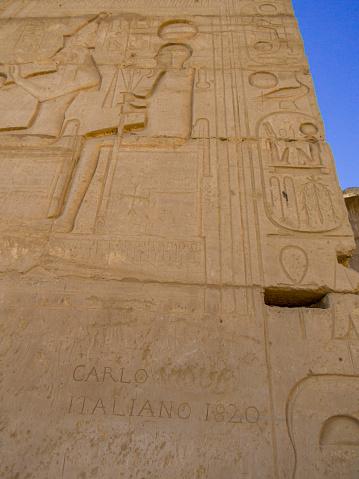 Hieroglyphics in the Ramesseum Temple in Luxor, Egypt