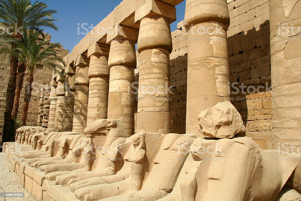 Ram-headed sphinxes. The ram of Amon royalty-free stock photo