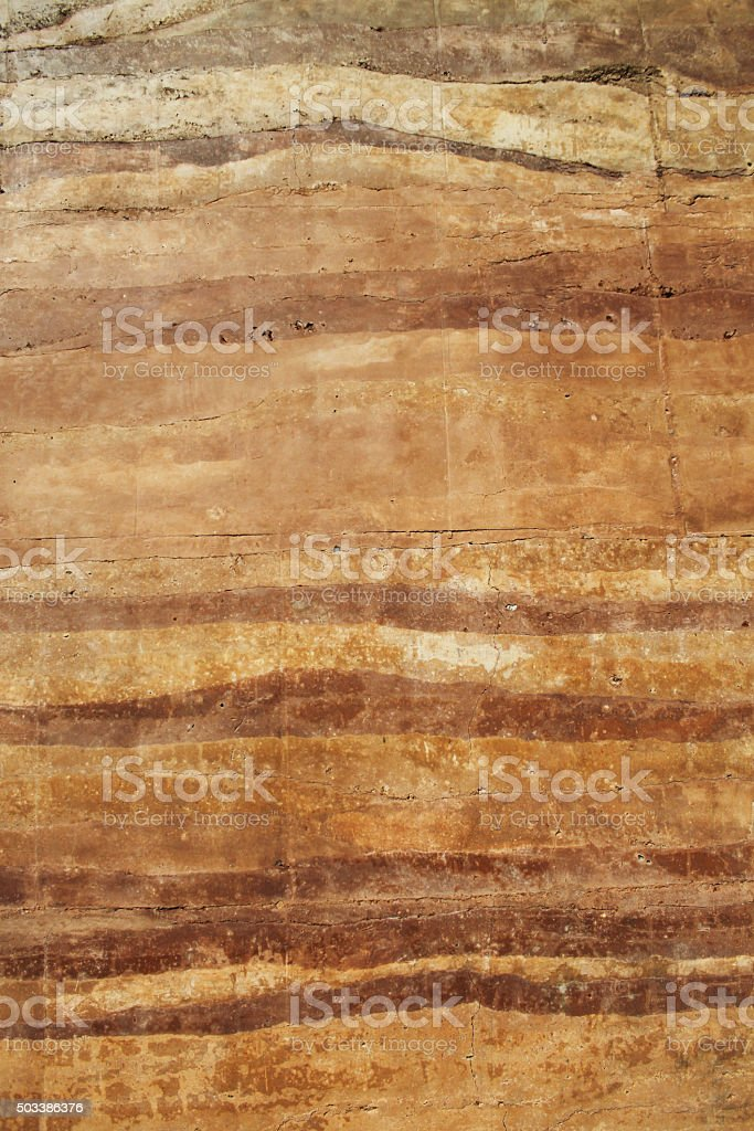 rammed earth wall material texture stock photo