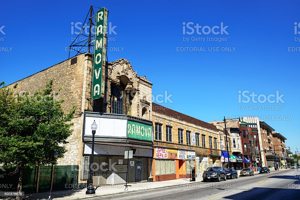 Ramova movie palace, Bridgeport, Chicago stock photo