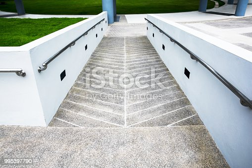 istock Ramp for wheelchair at the building background 995397790
