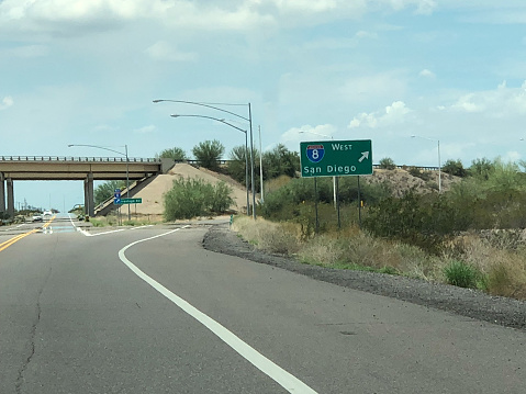 Gila Bend surface road exit to I-8 leading west to San Diego, CA