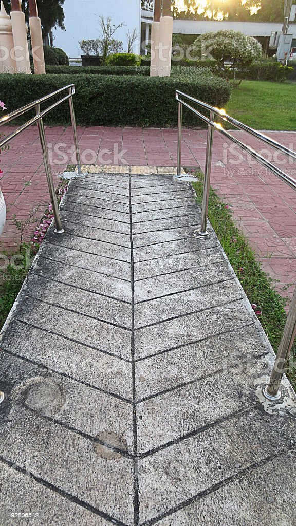 ramp way for support wheelchair disabled people stock photo