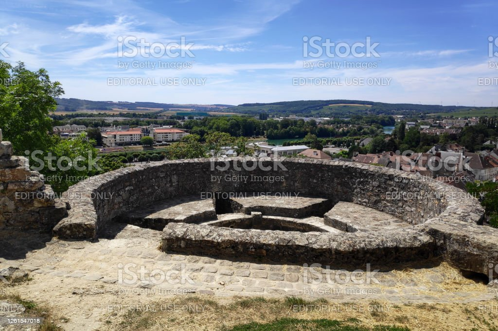 Rampart of Château-Thierry Château-Thierry, France - July 23 2020: View of the city from a tower of the old rampart of the fortified wall surrounding the ruined of the castle on top of the hill. Aisne Stock Photo