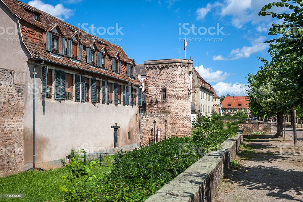 Ramparts in Obernai town center, Alsace wine route, France stock photo