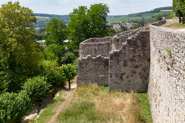 Ramparts of Château-Thierry stock photo