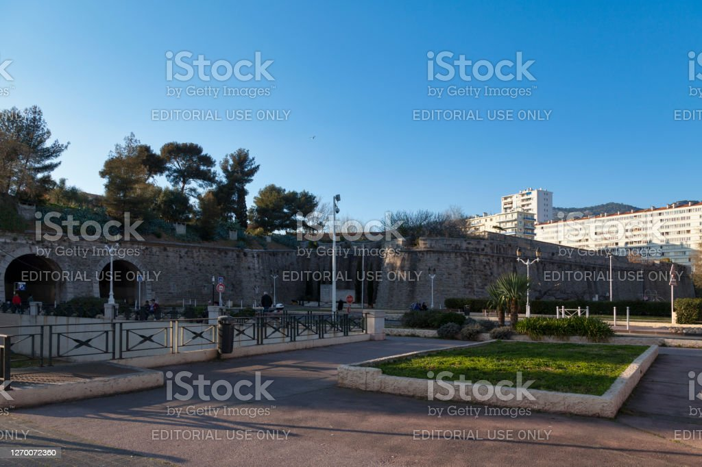 Ramparts of Toulon Toulon, France - March 24 2019: The ramparts of Toulon date back to the 5th century, but it really wasn't until the time of King Henry IV, when the city was expanding, that its limits had to be reviewed. Architecture Stock Photo