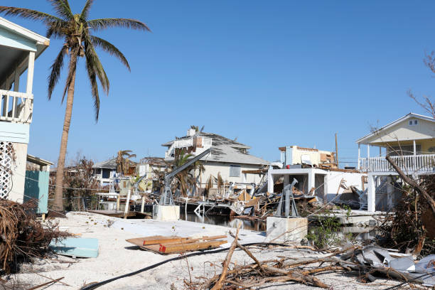 ramrod key in florida keys after hurricane irma and possible tornado - damaged stock photos and pictures