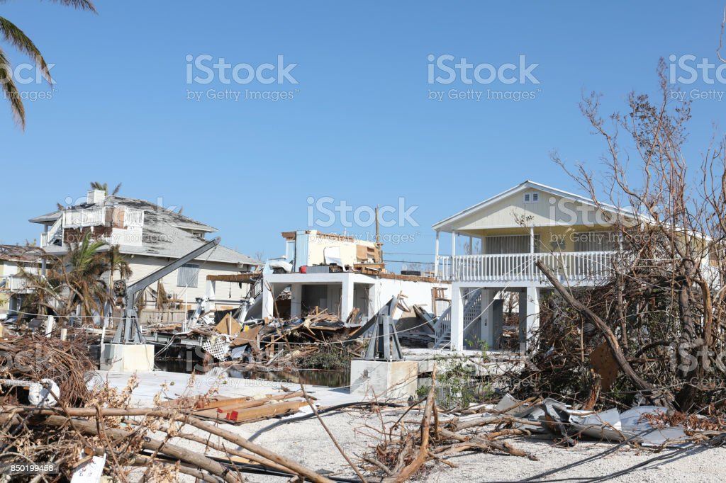 Ramrod Key in Florida Keys after Hurricane Irma and possible tornado stock photo