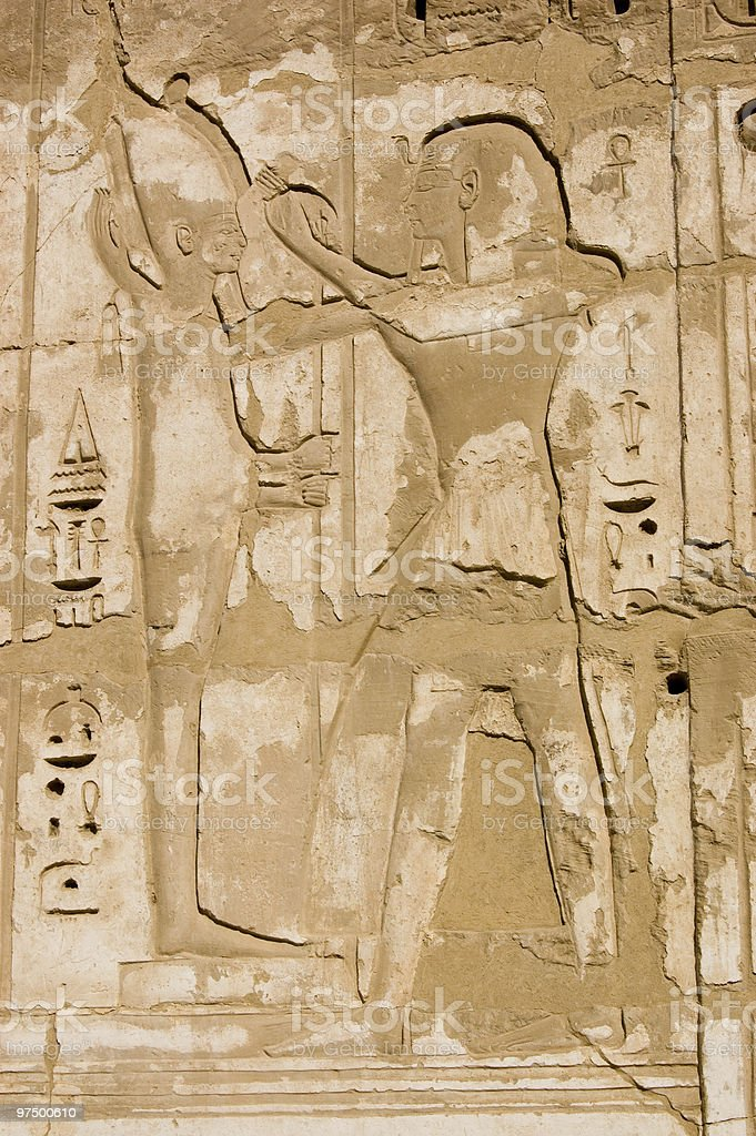 Ramses and Ptah Ancient Egypt Hieroglyph royalty-free stock photo