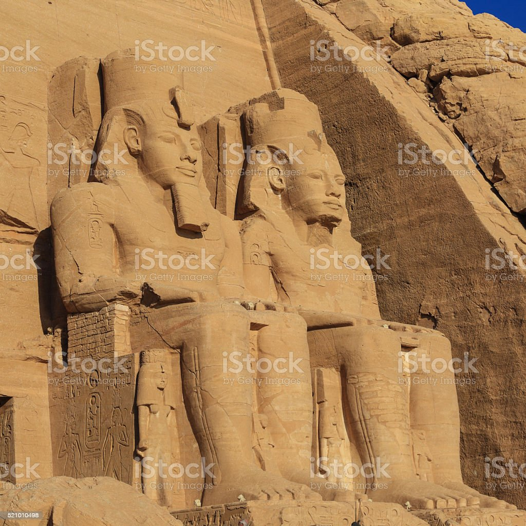 ramses ii and queen in Abu Simbel temple stock photo