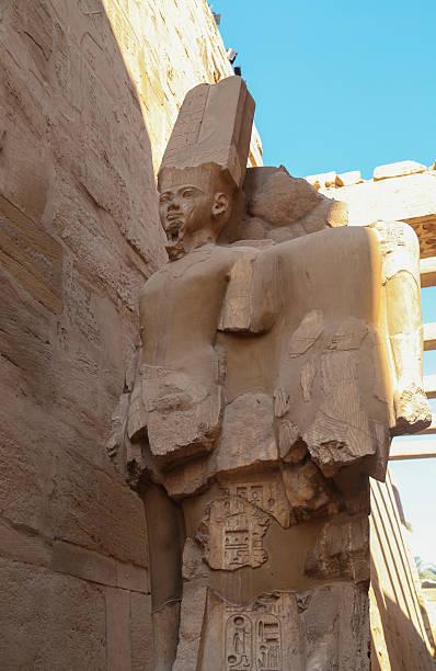 Ramses ii Kings statues at Karnak religious stock photo