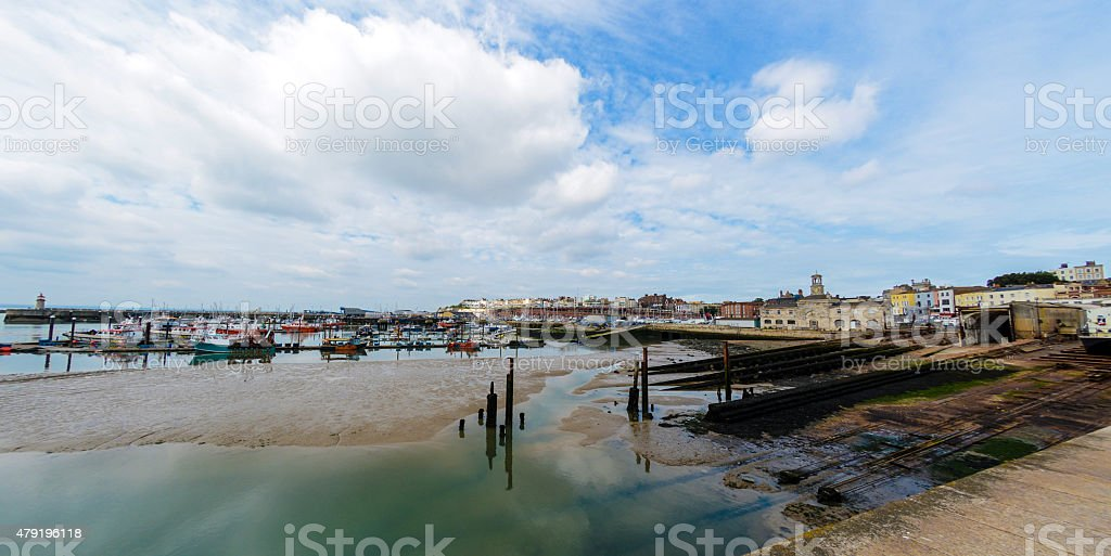 Ramsgate Harbour - low tide stock photo