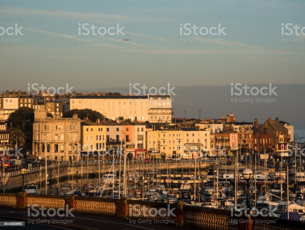 Ramsgate harbour under a beautiful sky at sunset stock photo