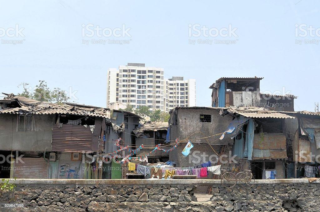 Ramshackle huts in Mumbai's slum Dharavi stock photo