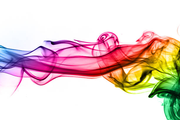 ranbow colored abstract smoke from real incense stock photo